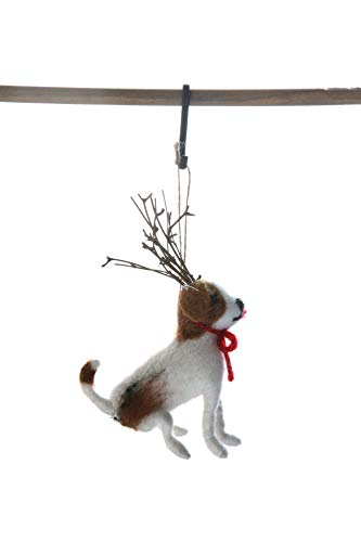 Creative Co-Op Wool Felt Dog with Antlers Ornament, ()
