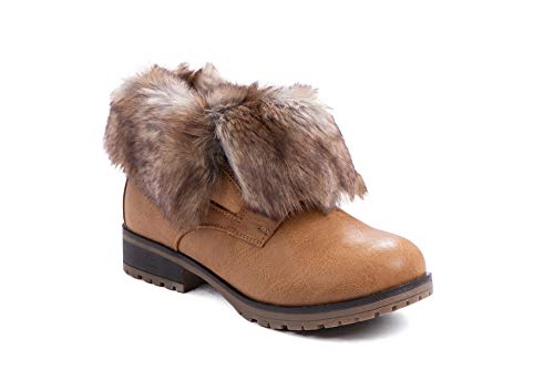 Leatherette Fold Down Fur Trim Combat Bootie (8.5, Tan-Fur) ()