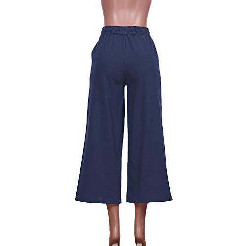 Forti Moda Larghi Gamba Taglie flare Svasati Navy Tinta Vita Unita Svago mambain Eleganti Pantaloni Alta Baggy Alla Donna RZzqwwU