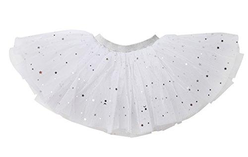 WGOODTECK Newborn Infant Baby Girls Sequin Tutu Stars Glitter Skirt(12-24M,White)