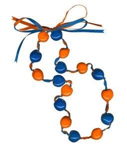 Lucky Kukui Nuts Necklace - Royal/Orange by Innovative Marketing