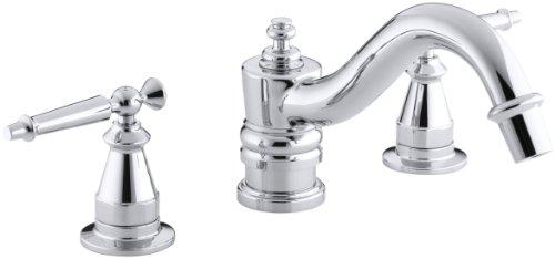 KOHLER K-T125-4-CP Antique Deck-Mount High-Flow Bath Faucet Trim with Lever Handles, Valve Not Included, Polished Chrome