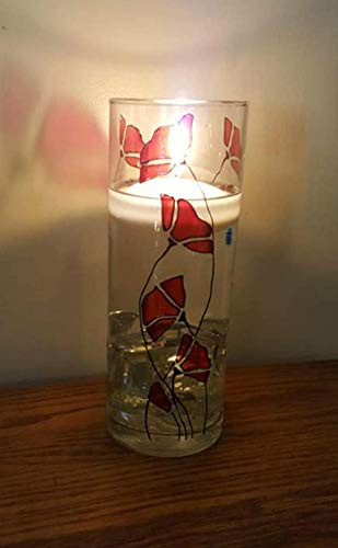 Red Poppy Flower Hand Painted Stained Glass 9 Inch Cylinder Vase Home Decor 4