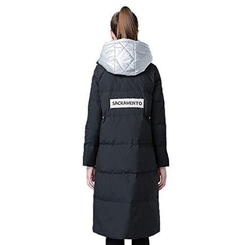 hod Rayé Doudoune À Capuche Tissé Chaude De Chaud Black Asymétrique Ourlet Femme Yz Hiver Veste Décoration FdA8qAw