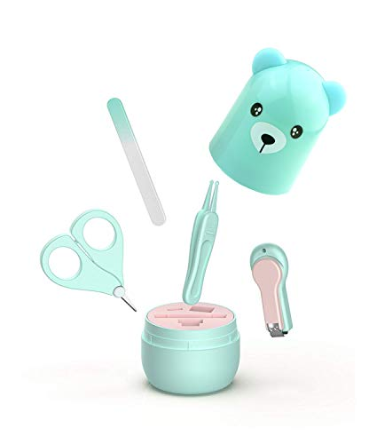 Baby Manicure Set | 4-in-1 Baby Grooming Kit, Baby Nail Clippers, Scissor, File & Tweezer | Baby Nail Care Kit for Newborn, Infant & Toddler