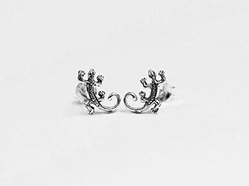 925 Silver Tiny Gecko Lizard Stud Earrings ()