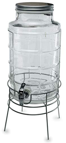 Circleware Newton Creek Glass Beverage Dispenser with Metal Stand and Lid, Entertainment Kitchen Glassware Drink Pitcher for Water, Juice, Wine, Kombucha & Cold Drinks, Huge 2.2 Gallon, Clear by Circleware (Image #3)