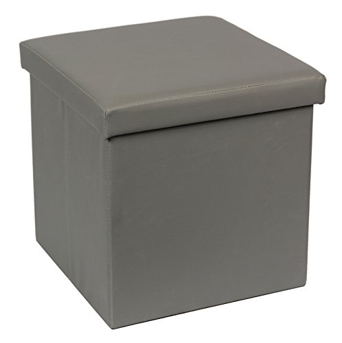 SULIT Classic Faux Leather Folding Storage Ottoman,Cube Foot Rest Stool Seat(GREY)