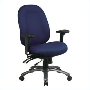 Office Star 8500 Series High Back Chair with Seat Slider in Titanium - Grey
