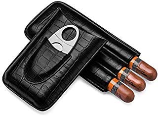 Black Cigar Case, Crocodile Texture Leather Cigar Travel Case with Stainless Steel Double Bladed Cigar Cutter (for 3 Cigars) by Cassite