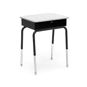 virco student desk with black metal bookbox gray nebula hard plastic top black upper