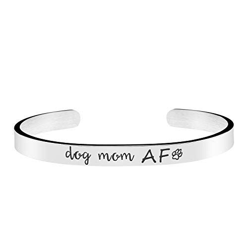 Joycuff Dog Mom AF Bracelet Pet Animal Lover Jewelry Handmade Silver Stainless Steel Mantra Cuff - Animal Jewelry Handmade