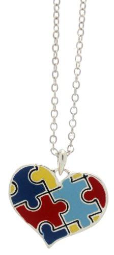 Autism Puzzle Piece Heart Pendant (Puzzle Piece Heart)