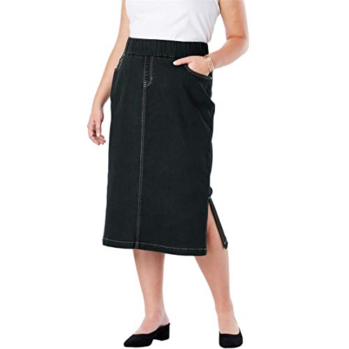 Jessica London Women's Plus Size Comfort Waist Midi Skirt - Black, 18