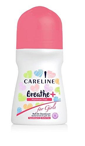Aluminum Alcohol - Careline Breathe Girls Roll on Deodorant Paraben, Aluminum, Alcohol Free, Hypoallergenic, 75ml