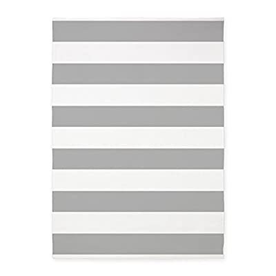 CafePress - Light Gray And White Bold Stripes - Decorative Area Rug, 5'x7' Throw Rug