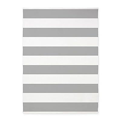 CafePress - Light Gray And White Bold Stripes - Decorative Area Rug, 5'x7' Throw Rug
