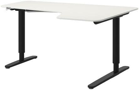 Amazon.com: Ikea Corner desk right sit/stand, white, black ...