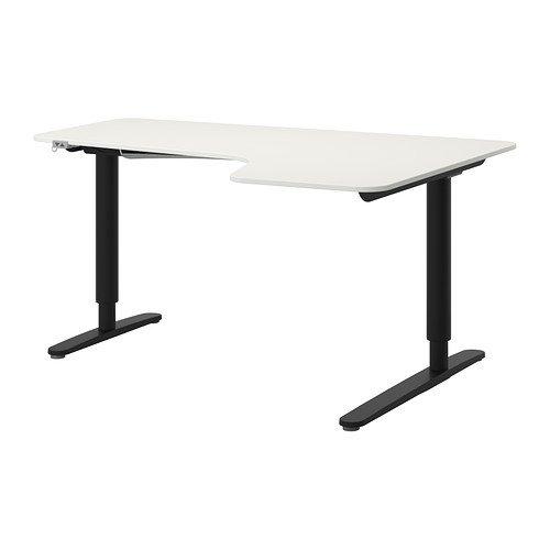 IKEA Corner Desk Right Sit/Stand, White, Black 14202.8817.218 by IKEA