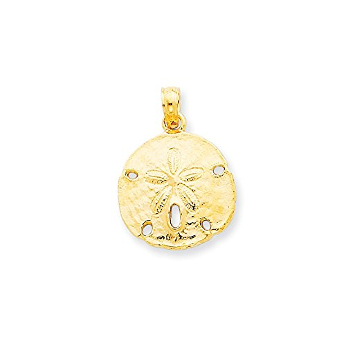 14k Gold Polished Sand Dollar Pendant (0.83 in x 0.63 in) ()