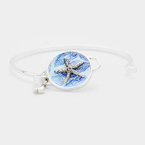 Size: H 1 H ID : D - 2.3 Patterned Starfish Accented Pearl Charm Hook Bracelet