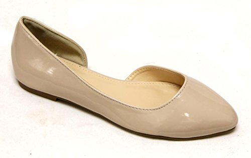 Glamour Urbain-908 Femmes Orteil Amande Slip On Dorsay Verni Chaussures Plates Nude