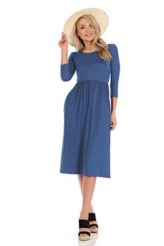 Floral in Solid Made iconic with Dress Midi USA and Pockets and Women's Flare luxe in Denim Fit ATqx67A