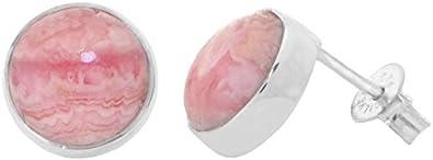 ERCE rodocrosita piedra semipreciosa pendientes redondos, plata de ley 925