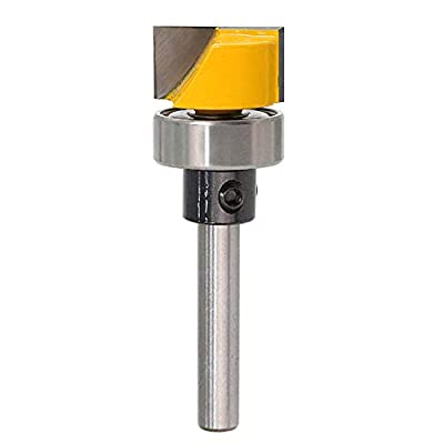 Bestgle Flush Template Trim Router Bit Hinge Mortise Template Bit Cleaning Bottom Engraving Cutter with Bearing Woodworking Cutting Tool, 1/4 Inch Shank