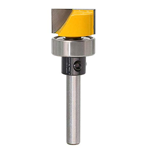 - Bestgle Flush Template Trim Router Bit Hinge Mortise Template Bit Cleaning Bottom Engraving Cutter with Bearing Woodworking Cutting Tool, 1/4 Inch Shank