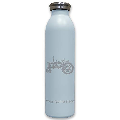 Lasergram Sports Water Bottle, Old Farm Tractor, Personalized Engraving Included (Light Blue)