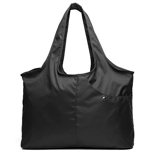 Volcanic Rock Waterproof Shoulder Shopping Bag Lightweight Totes Water-Resistant Nylon Large Capacity Purse(8045_Black)