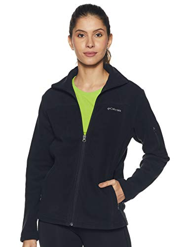 Columbia Women's Fast Trek II Full Zip Soft Fleece Jacket, Classic Black, Large
