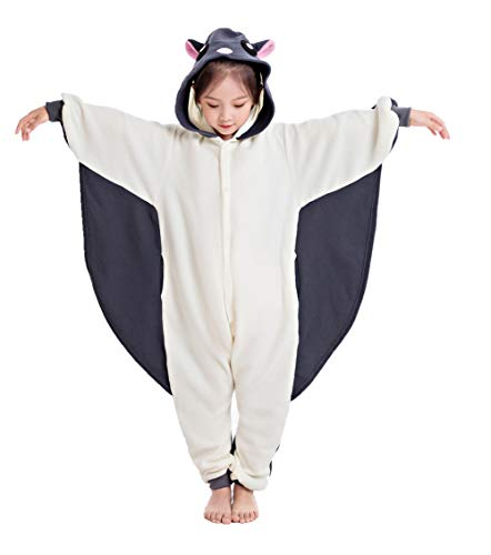 NEWCOSPLAY Unisex Children Sloth and Flying Squirrel Pyjamas Halloween Kids Onesie Costume (125, Gray Flying Squirrel) -