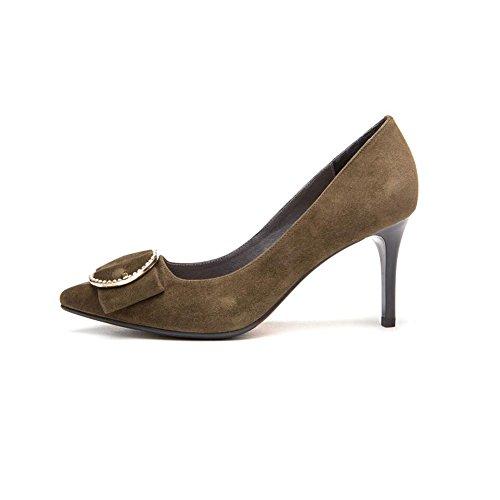 DALL Zapatos de tacón Ly-25 Fashion Scrub Rhinestone Primavera Y Verano Sra. Apuntado Cabeza Talón Fino Tacones Zapatos Casuales Altura Del Tacón 8cm ( Color : Negro , Tamaño : EU 38/UK5.5/CN38 ) Verde