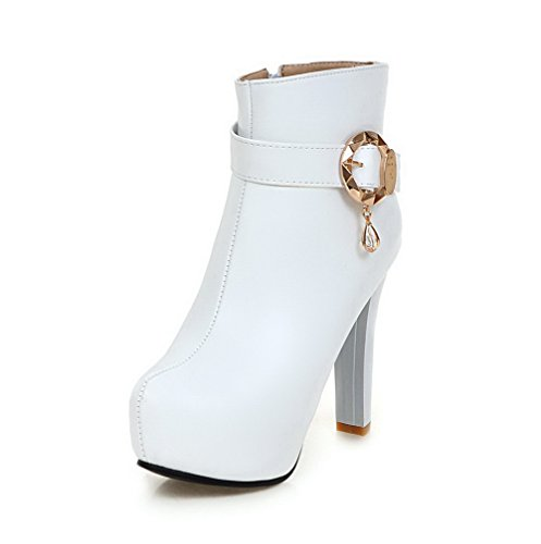 with White Heels Toe Low Zipper Closed Soft Metal Top Boots Women's Allhqfashion Material Round High qcZ7RgT6