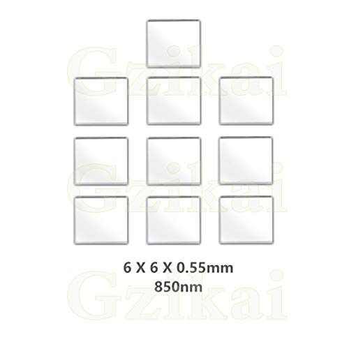 - Gzikai 10pcs/1 Lot 6mm×6mm×0.55mm 850nm Optical IR-Cut Narrow Band Pass Filter for Barcode Scanner Infrared lense and Face Recognition