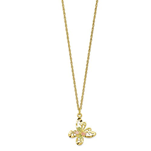 Sonia Jewels Solid 10k Tri-Color Black Hills Gold Butterfly Necklace Chain 18