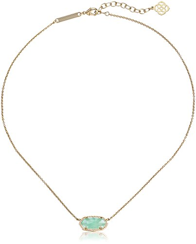 Kendra Scott Signature Elisa Pendant Necklace in Gold Plated and Green Glass