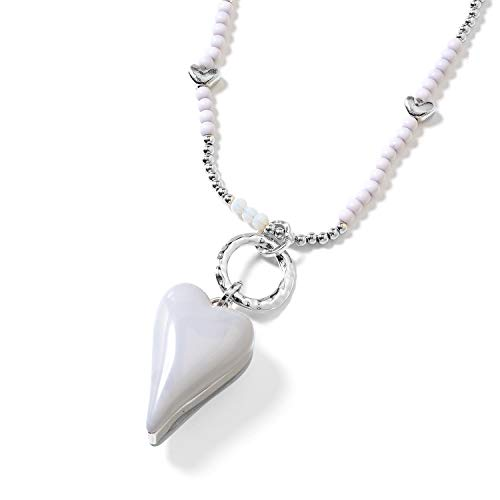 Shop LC Delivering Joy Gray Chroma Clear Beads Silvertone Heart Pendant with Beaded Necklace for Women Jewelry Gift 36