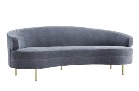 TOV Furniture The Baila Collection Modern Style Living Room Velvet Upholstery Curved Sofa with Stainless Steel Legs, Grey (Curved Sectional Sofas)