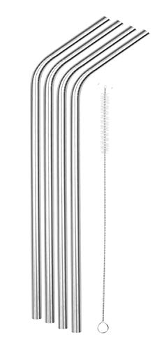 SipWell 9.5mm Bent Wide Stainless Steel Drinking Straws, 4-Pack - Rust Proof Metal Straws w/Cleaning Brushes - Perfect for Smoothies & Cold Beverages