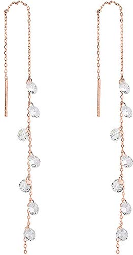 925 Sterling Silver Tassel Drop Earrings Long CZ Droplet Dangle Threader Earrings for Women