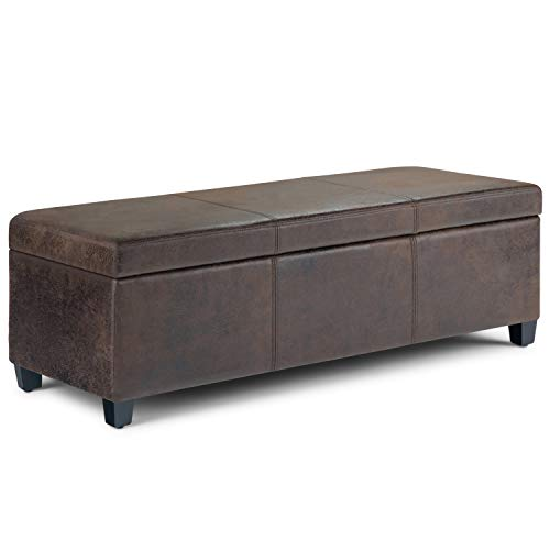Simpli Home AXCF18-DBR Avalon 48 inch Wide Contemporary  Storage Ottoman in Distressed Brown Faux Air Leather