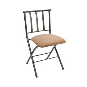 Slat back folding chair with microsuede padded seat cushion white and