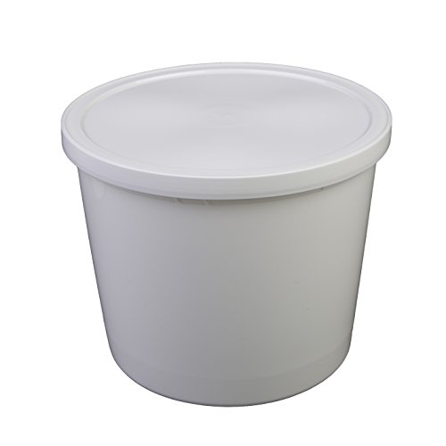 Consolidated Plastics 43906 Round Tub with Cover, HDPE, 166 oz., White, 10 Piece Hdpe Tub
