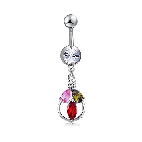Trendyest Women Sexy Rhinestone Belly Button Bar Navel Ring Body Piercing (Rings Free Button Shipping Belly)