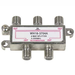 InstallerParts 4Way 2.5GHz Satellite Splitter DC Power Pass