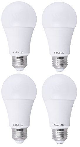 Bioluz LED 100W LED Bulbs, Dimmable LED Light Bulbs, Natural White 4000K, A19 LED Light Bulb 1600 Lumen - 4 Pack