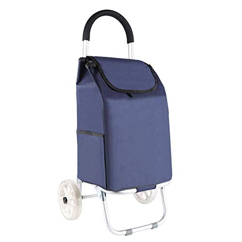 LIXBD Outdoor Product/Mountaineering Shopping Cart, Trolley, Trolley, Folding Trolley, Supermarket Portable Cart Size: 453990CM (Color : Blue, Size : 2 Wheels)